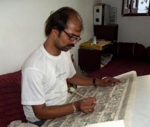 Artist working on The Hanuman versis on Silk.